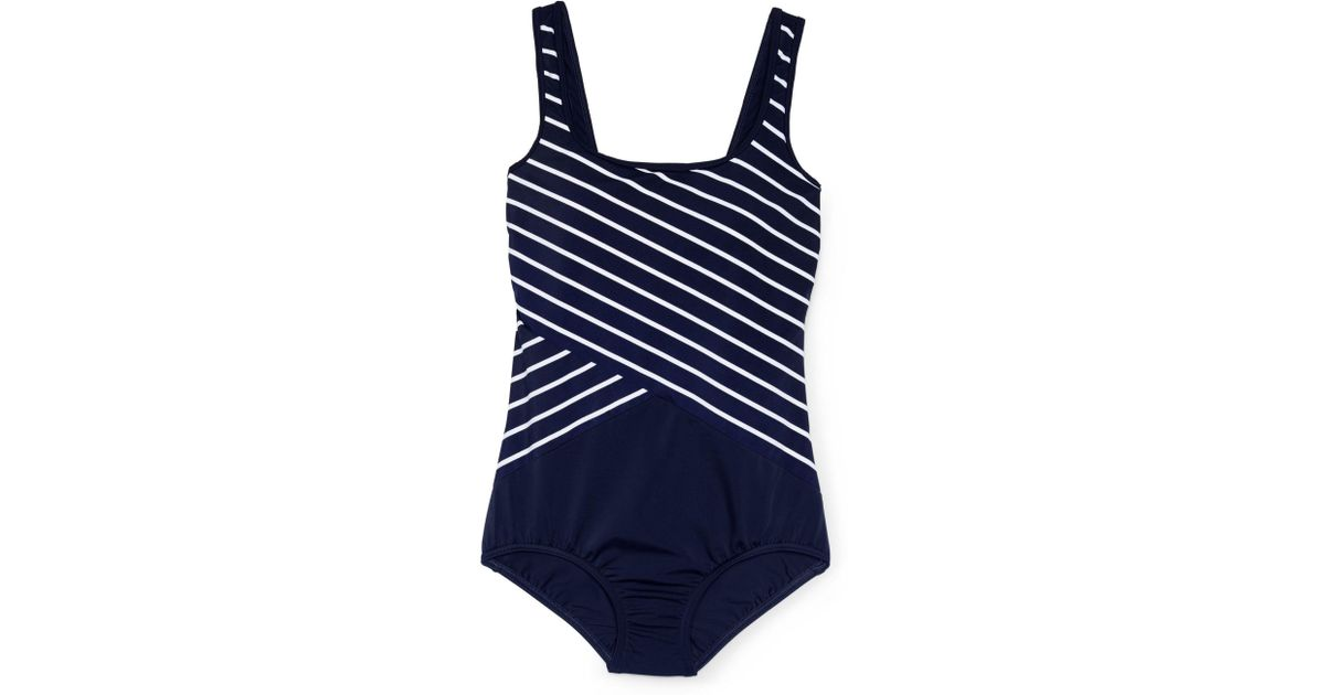 043dfffd22 Lands  End Blue Regular Tugless Soft Cup Striped Spliced Swimsuit in Blue -  Lyst