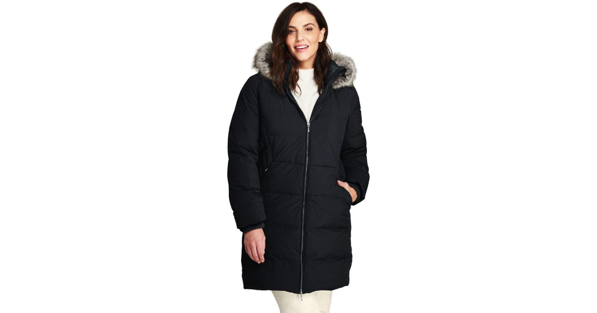 9e89c18da00db Lands  End Black Plus Faux Fur Hooded And Lined Down Coat With Stretch in  Black - Lyst