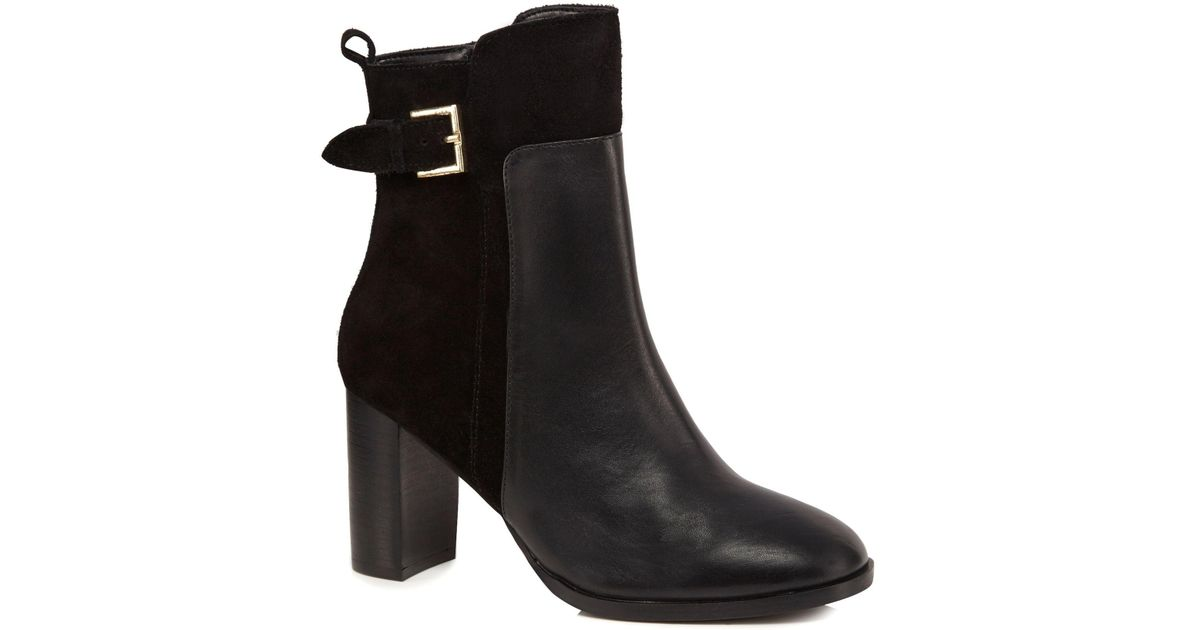 f4c82211950 J By Jasper Conran - Black Leather 'jalen' High Block Heel Ankle Boots -  Lyst