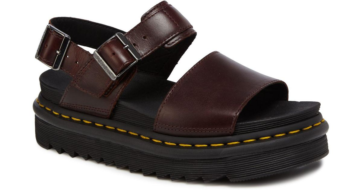 58d1a6194ad9 Dr. Martens Dark Red Leather  voss  Sandals in Red - Lyst