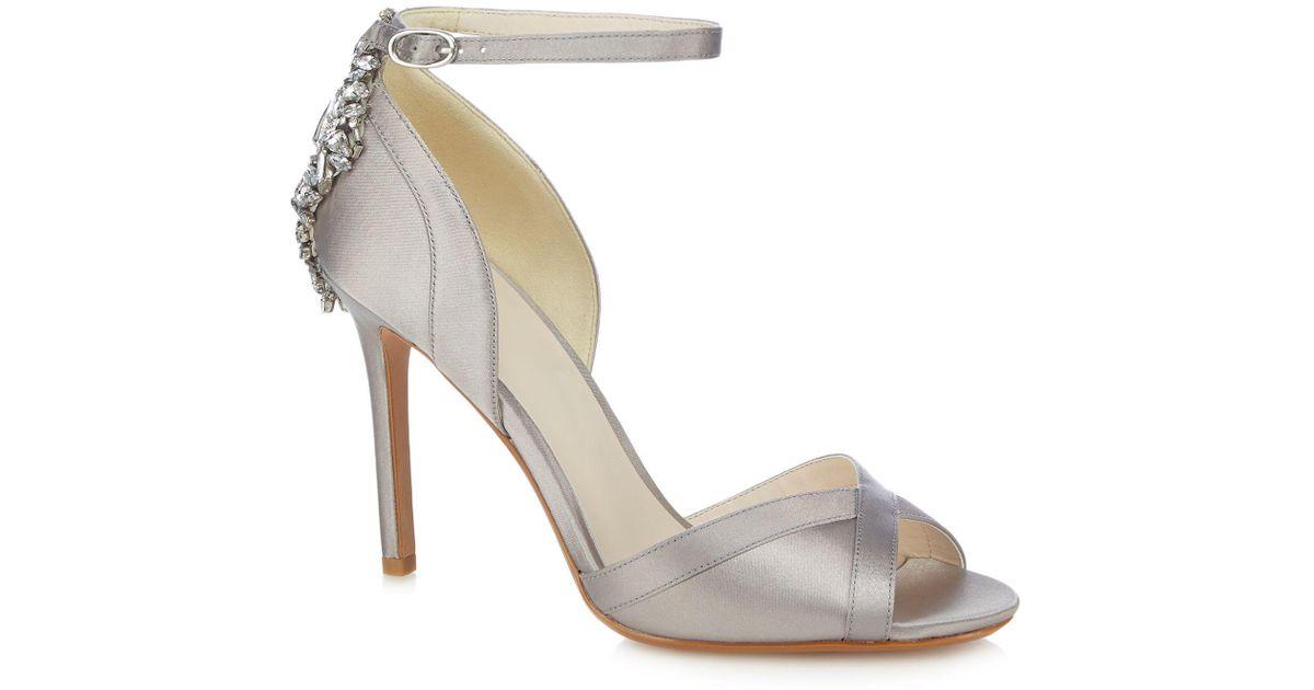 395e8743e2d Jenny Packham Silver  picnic  High Stiletto Heel Ankle Strap Sandals in  Metallic - Lyst