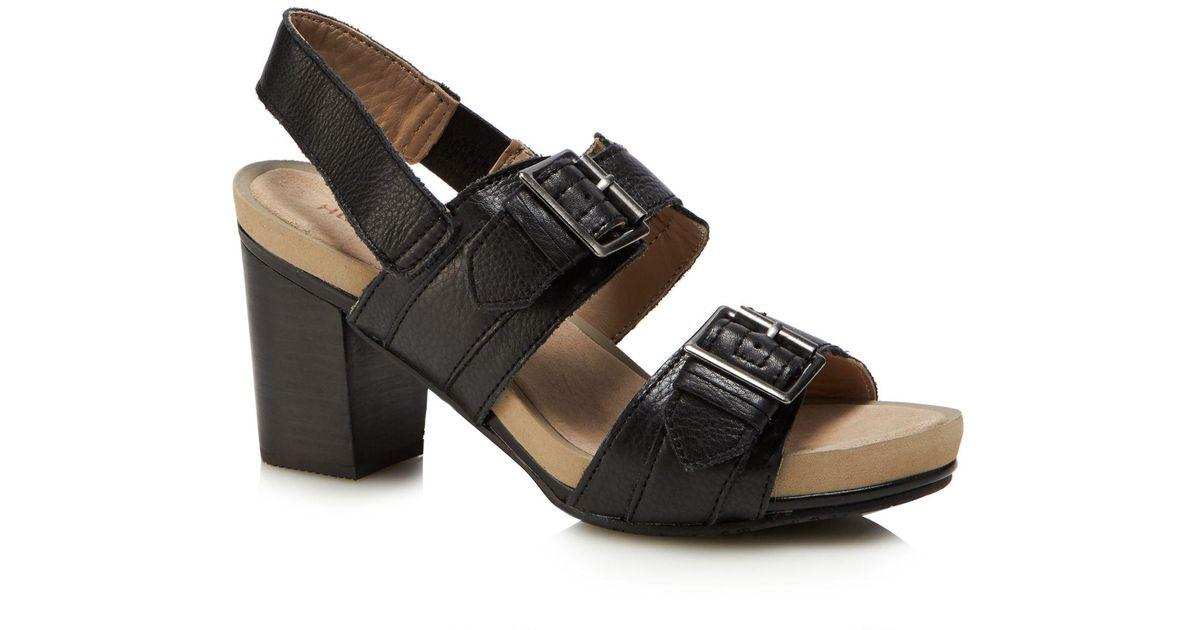 Black leather 'Leonie Mariska' mid block heel sandals cheap very cheap collections sale online outlet tumblr 9Yjtt12B