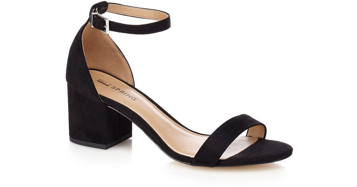 bdd2d6317e33 Call It Spring Black  borewiel  Mid Block Heel Ankle Strap Sandals in Black  - Lyst