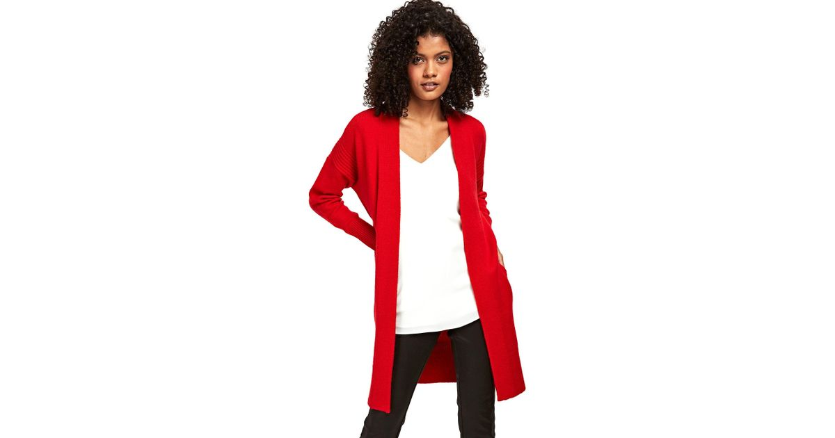 b17ed4b3ec Wallis Red Textured Long Line Cardigan in Red - Lyst