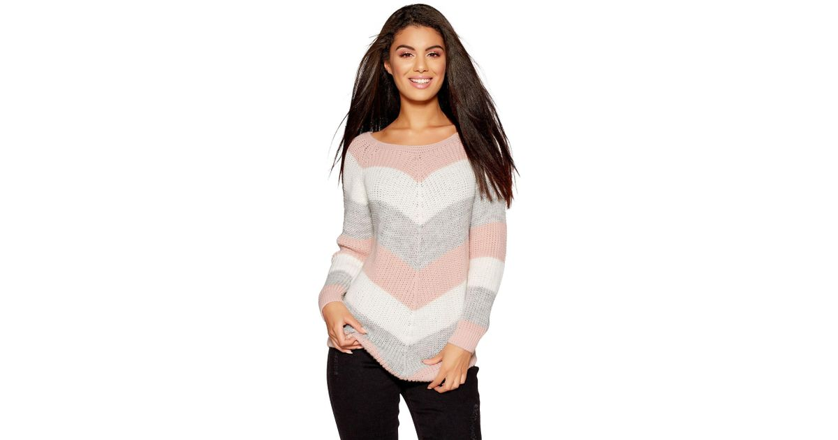 615df334002b Quiz Pink Cream And Grey Stripe Knitted Jumper in Pink - Lyst