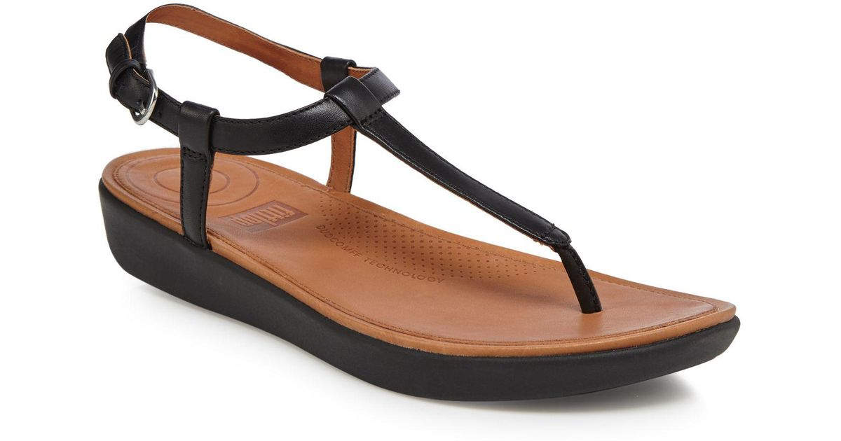 355e427bae64 Fitflop Black Leather  tia  T-bar Sandals in Black - Lyst