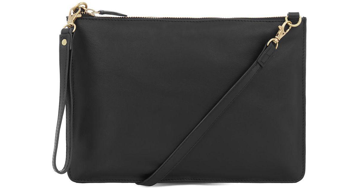 Warehouse Leather Top Zip Crossbody Bag in Black - Lyst