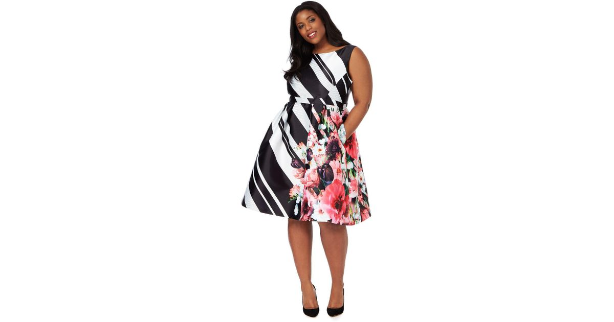 Début Black And White Block Striped Floral Plus Size Prom Dress In