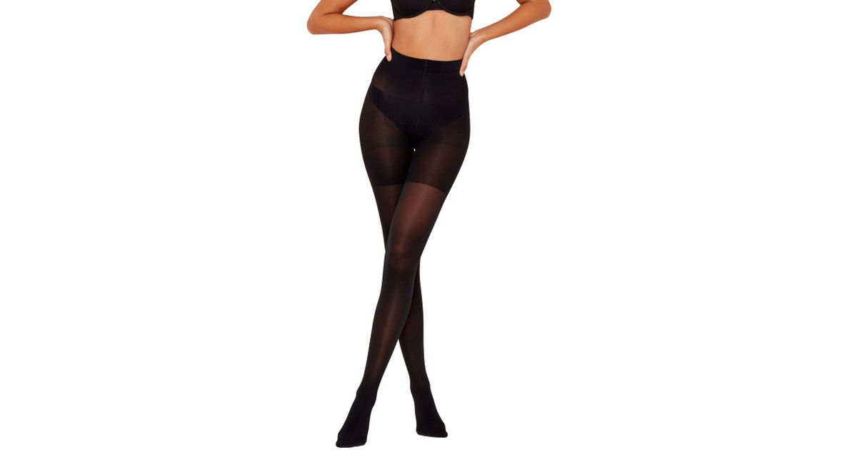 b651708be3 Spanx Black Opaque Firm Control Shapewear Tights in Black - Lyst