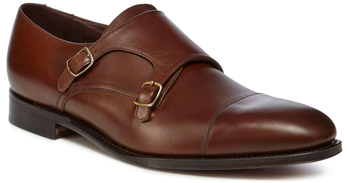 Loake Tan Leather Canon Monk Strap Shoes In Brown For Men Lyst