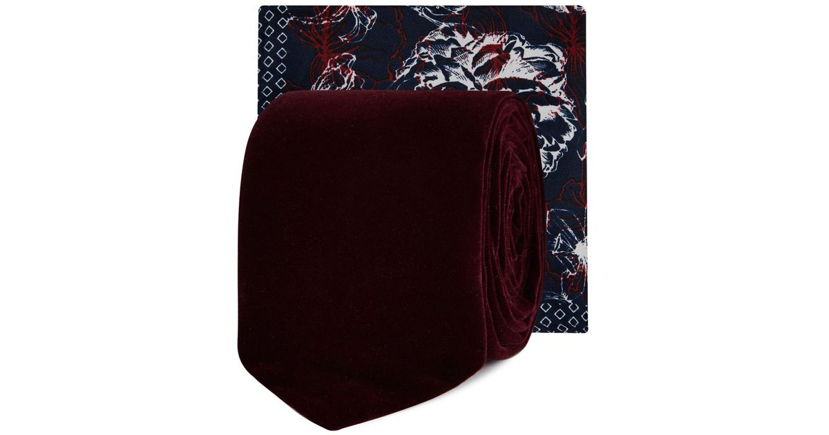530b8e2a3f0e Red Herring Wine Red Velvet Tie And Floral Pocket Square for Men - Lyst
