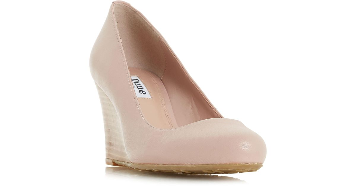 901eada207475 Dune Light Pink Leather 'alixxe' High Wedge Heel Court Shoes in Pink - Lyst