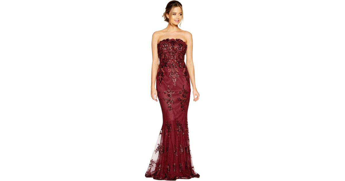 bc10455d Quiz Berry Sequin Embroidered Fishtail Maxi Dress in Red - Lyst