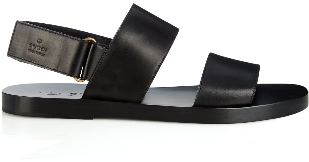 caa6df3b6bc Lyst - Gucci Double-Strap Leather Sandals in Black for Men