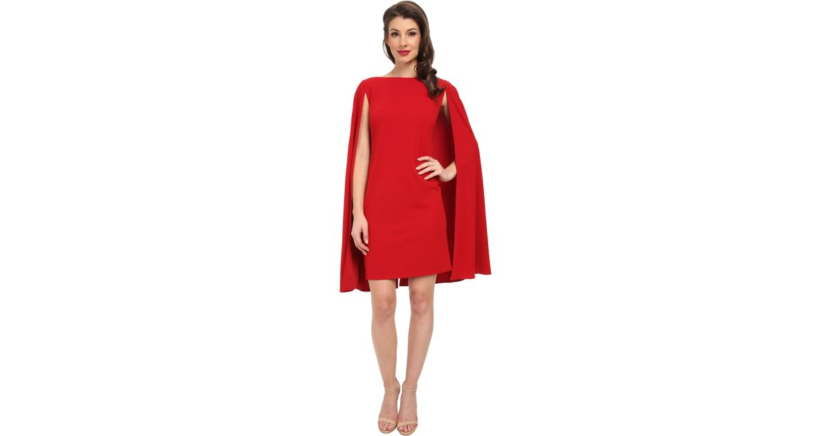 e50895cb496 Adrianna Papell Structured Cape Sheath Dress in Red - Lyst