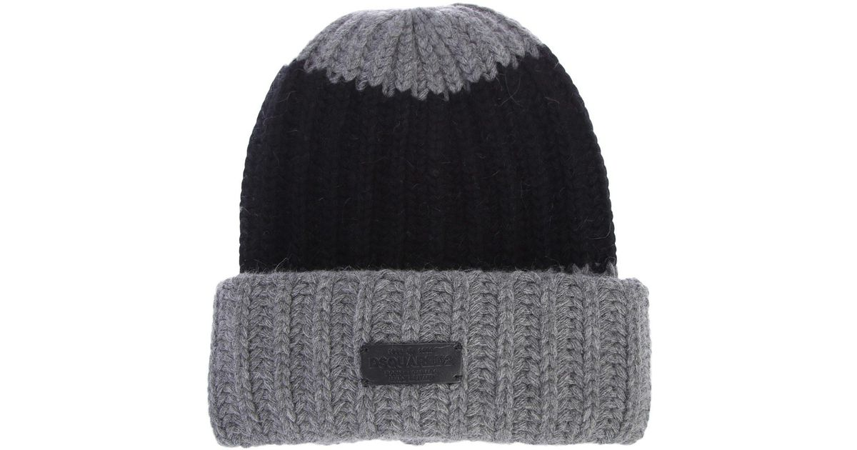 Lyst - Dsquared² Knit Wool And Angora Hat for Men 16691a6460cd