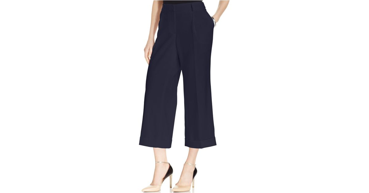 Jones new york Collection Cropped Wide-Leg Cuffed Pants in Blue | Lyst