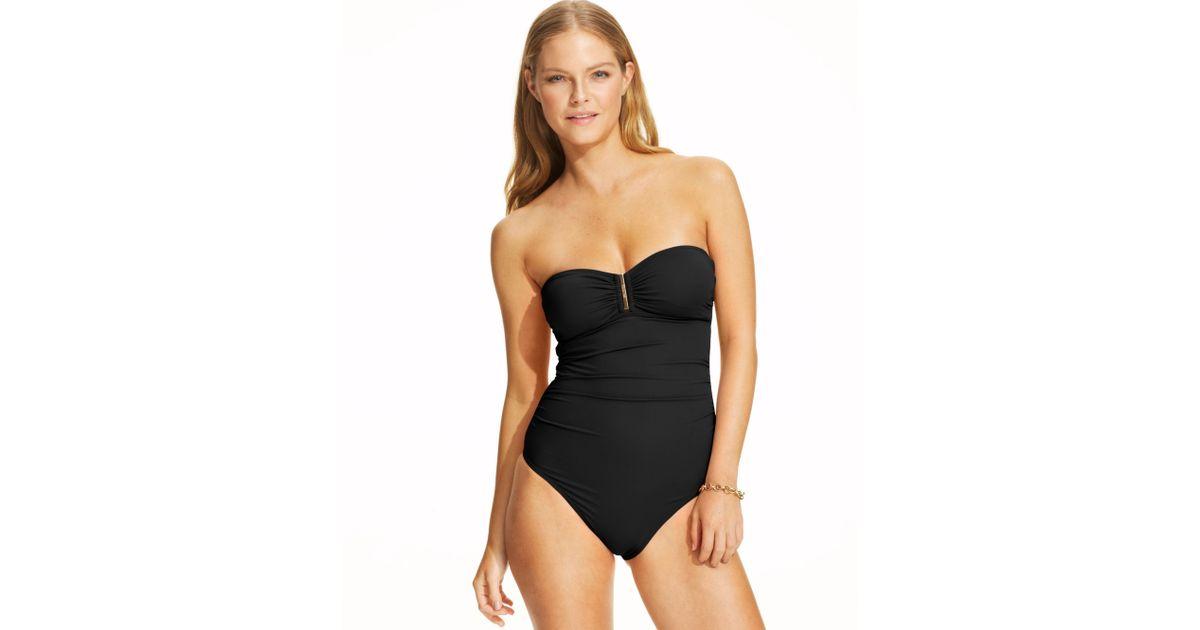 ef175230082 Calvin Klein Strapless Bandeau Onepiece Swimsuit in Black - Lyst