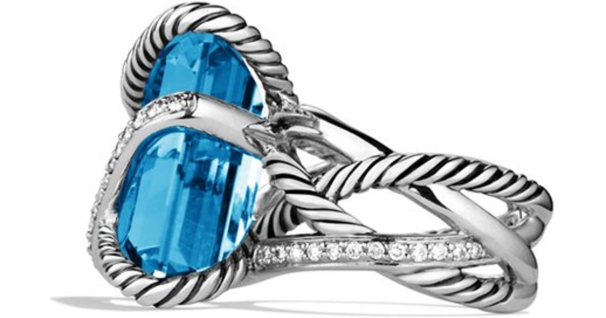 Wonderful Lyst - David Yurman Cable Wrap Ring with Blue Topaz and Diamonds  DI84