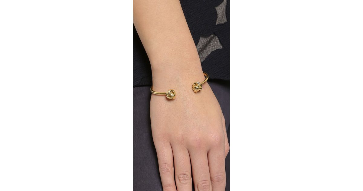 Lyst Kate Spade New York Dainty Sparklers Knot Bracelet Gold In Metallic