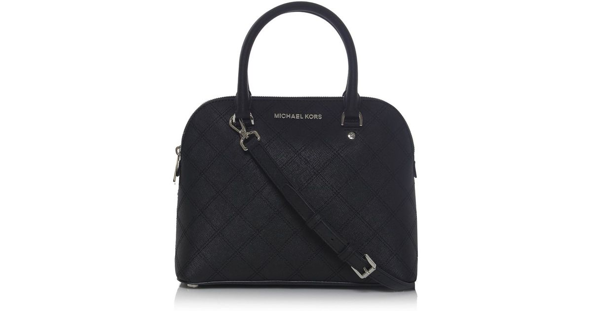 082bdbcc18f0 MICHAEL Michael Kors Cindy Medium Dome Satchel Bag in Black - Lyst