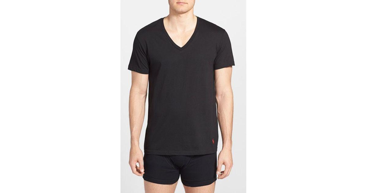 polo ralph lauren v neck t shirt in multicolor for men black grey. Black Bedroom Furniture Sets. Home Design Ideas