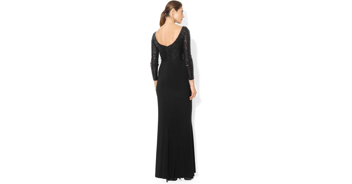 8a1c050022c43 Lauren by Ralph Lauren Long-Sleeve Sequin Gown in Black - Lyst