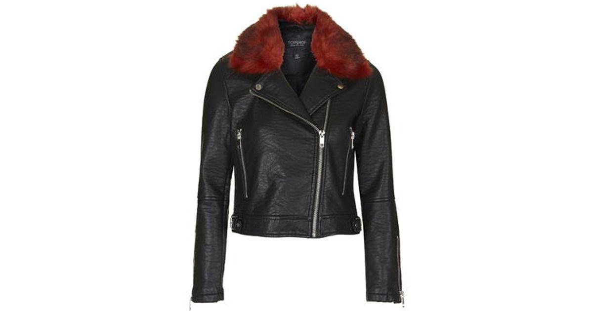 Lyst Topshop Faux Fur Collar Biker Jacket In Red