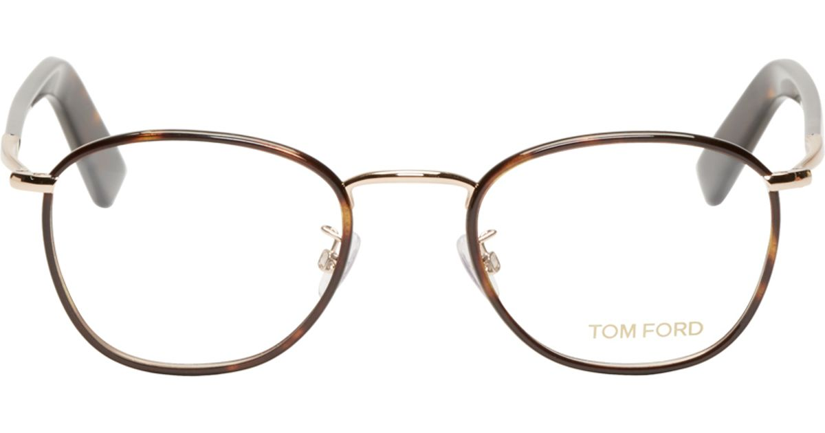 ce1db6e4a43c Lyst - Tom Ford Brown Round Tortoiseshell Tf5333 Optical Glasses in Brown  for Men