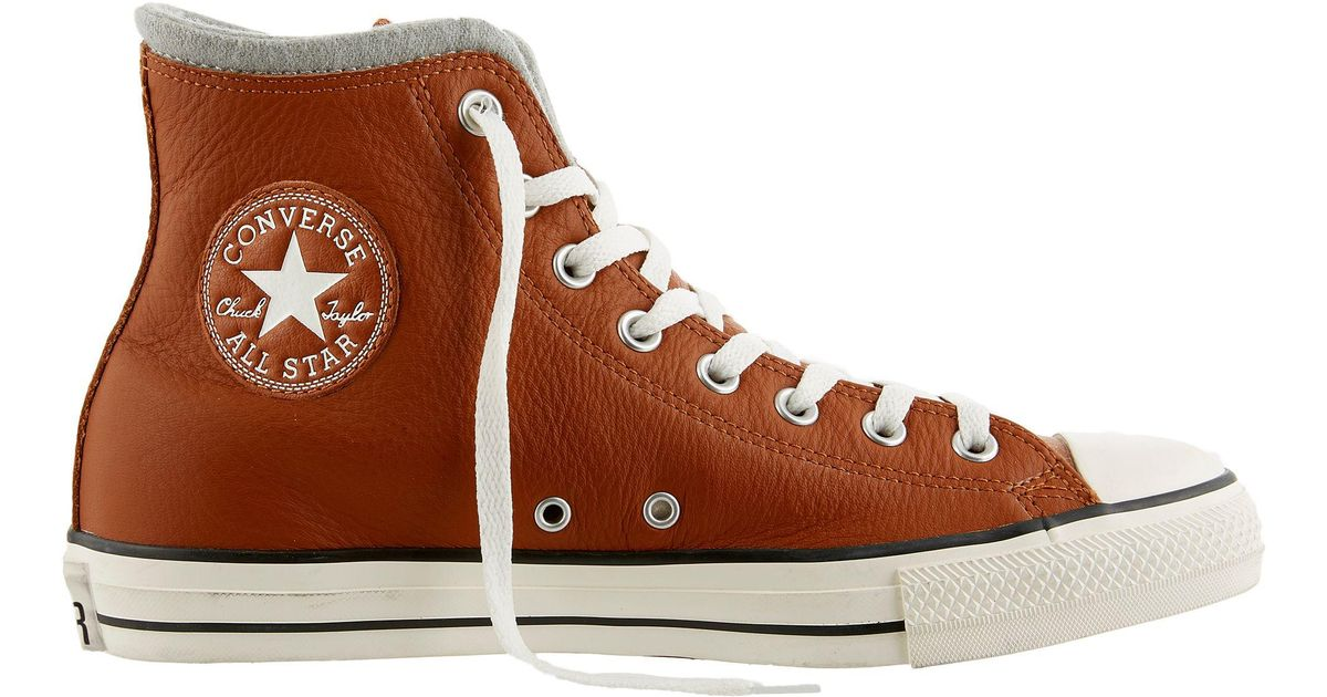 aef6b0a13d3ed0 ... reduced lyst converse chuck taylor all star leather wool hi top casual  shoes in brown for