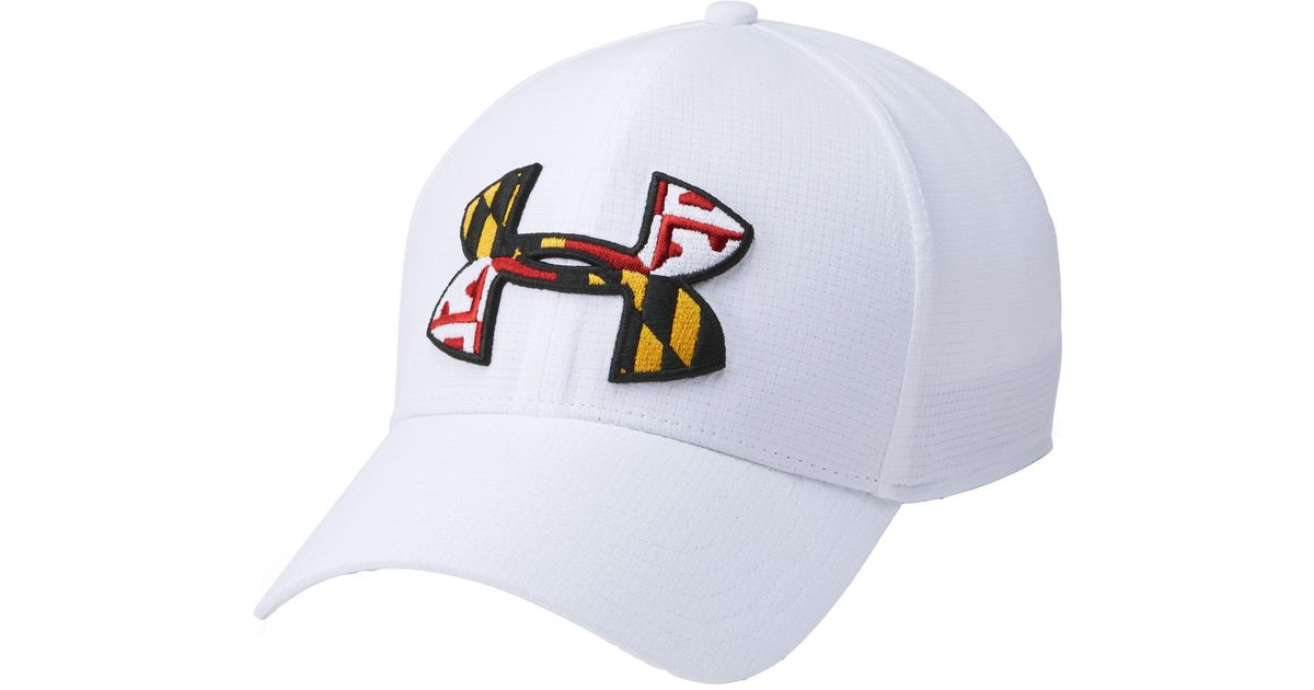 604c670f3a4dd ... italy lyst under armour maryland flag big logo low crown hat in white  for men 85d6c