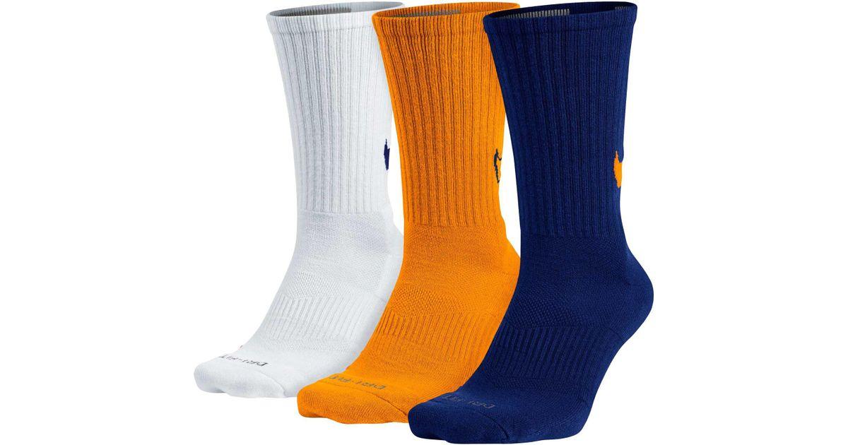 a6491fffa7a6 Nike Dri-fit Cotton Swoosh Hbr Crew Socks 3 Pack in Orange for Men - Lyst