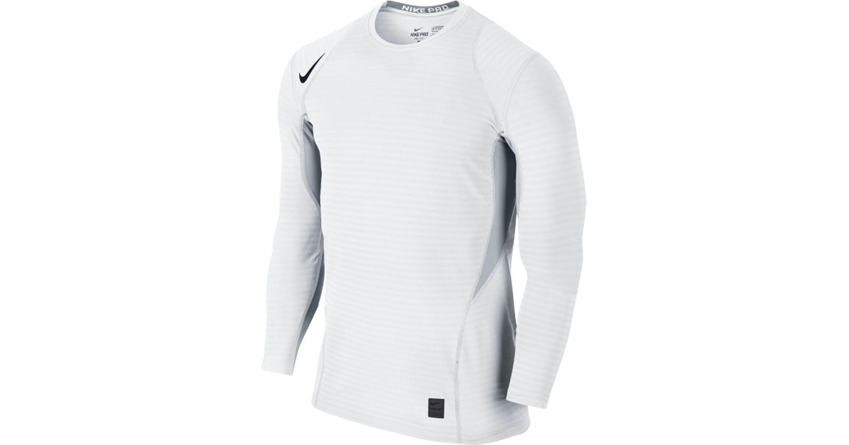 0ddadb3f Nike Pro Warm Long Sleeve Compression Shirt in White for Men - Lyst