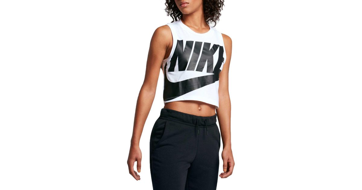 0b6c4c13b44 Nike Sportswear Essential Cropped Tank Top in White - Lyst
