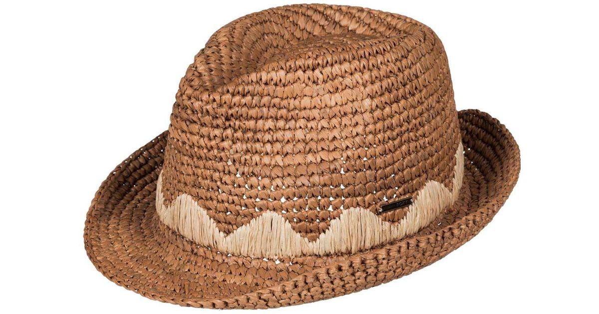 d5429b08615 Lyst - Roxy Witching Straw Fedora Hat in Brown
