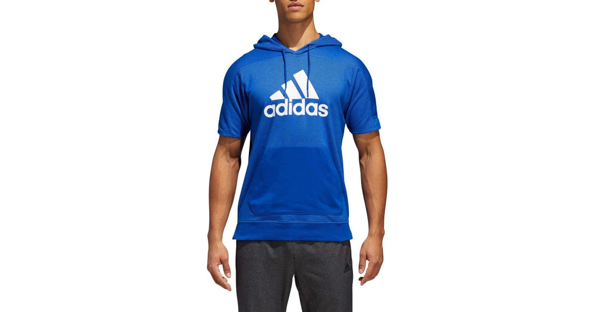 Lyst Adidas Corte Sport Id A Maniche Corte Adidas Maglione Blu Per Gli Uomini Incappucciati 3d37c5