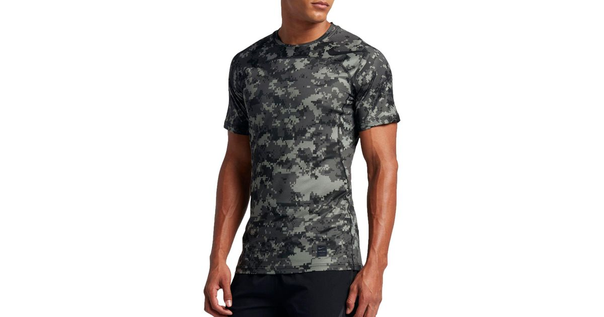 0ba54d516 Nike Pro Hypercool Digi Camo Printed Fitted T-shirt in Black for Men - Lyst
