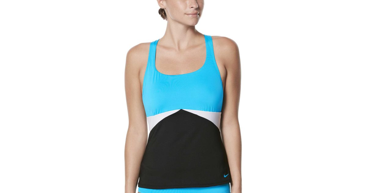 aa8df5994286d7 Lyst - Nike Color Surge Prism Crossback Tankini in Blue