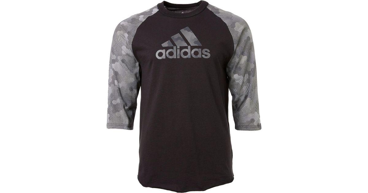 5164cd080f6 Lyst - adidas Triple Stripe Printed 3⁄4 Sleeve Baseball Shirt in Gray for  Men