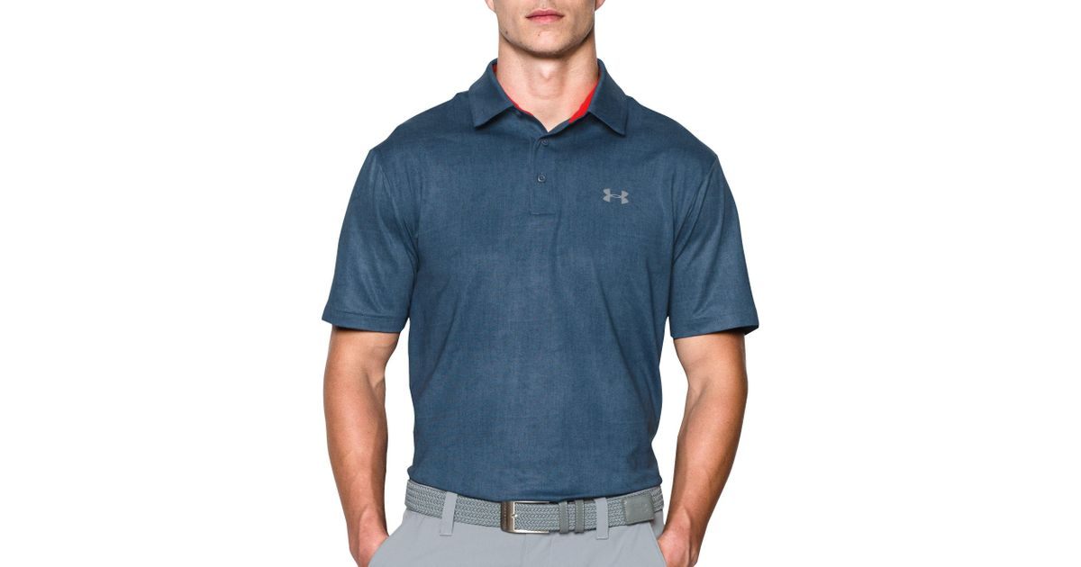 7c72331398 Under Armour Playoff Tweed Golf Polo in Blue for Men - Lyst