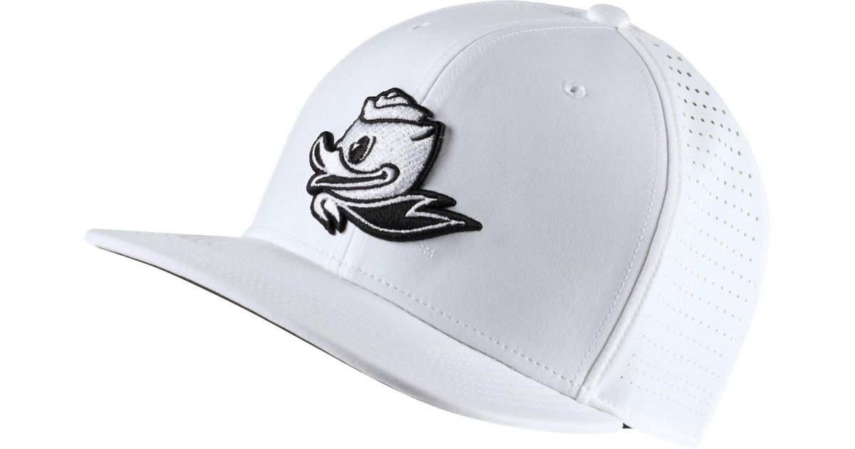 978324636a560 ... best price lyst nike oregon ducks pro perforated golf hat in white for  men 40f5d 7165d ...
