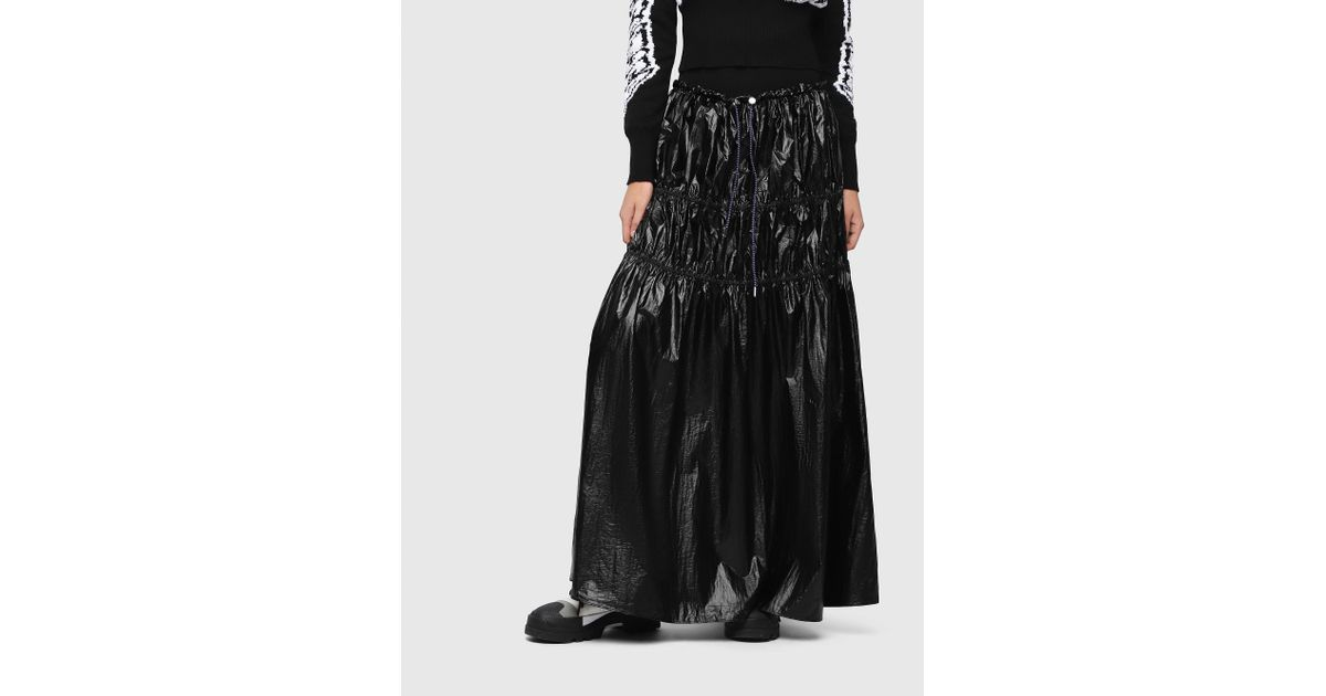 1d5149954d DIESEL Tiered Nylon Maxi Skirt in Black - Lyst