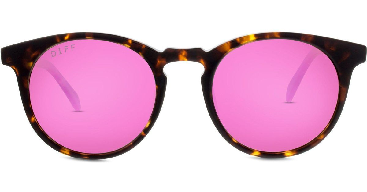 4476b8ea62e Lyst - DIFF Charlie - Tortoise + Pink Mirror + Polarized in Pink
