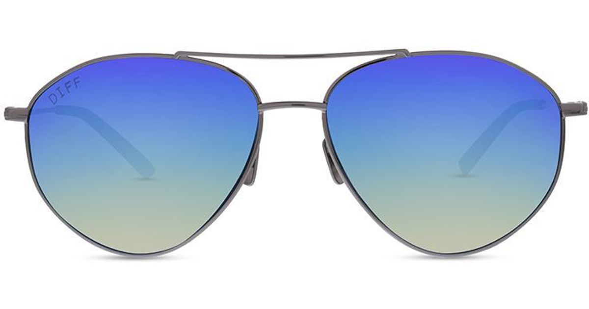 be90339255f87 Lyst - DIFF Scout - Light Gunmetal + Ice Blue Mirror + Polarized in Blue