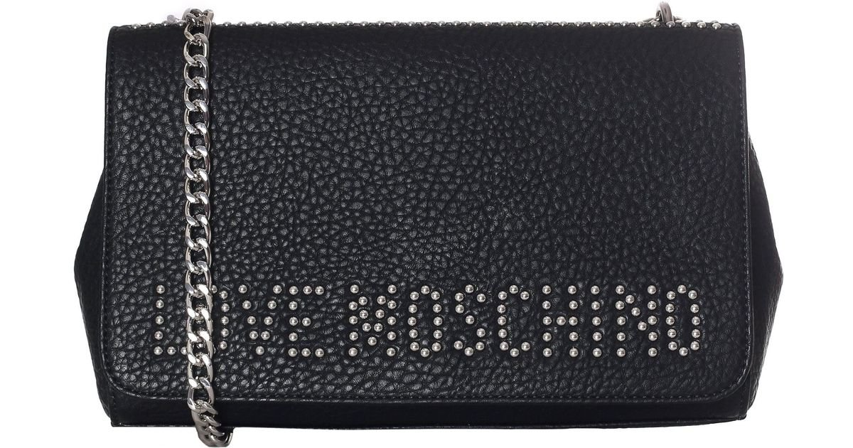 a884abd6ee26 Love Moschino Studded Logo Chain Shoulder Bag in Black - Lyst