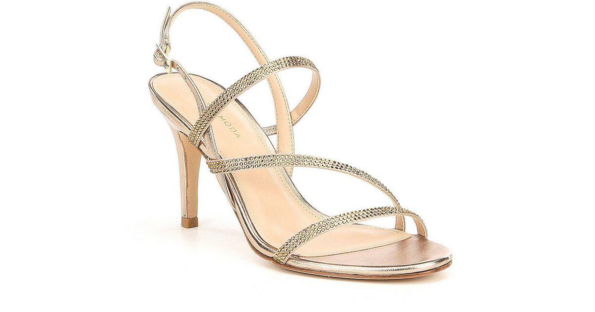 a713307e3a407 Lyst - Pelle Moda Ruma Rhinestone Detail Strappy Dress Sandals in Metallic
