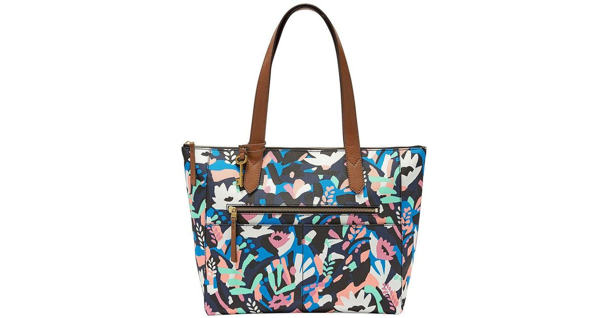 64ebaa5421 Fossil - Black Fiona Floral East west Tote - Lyst
