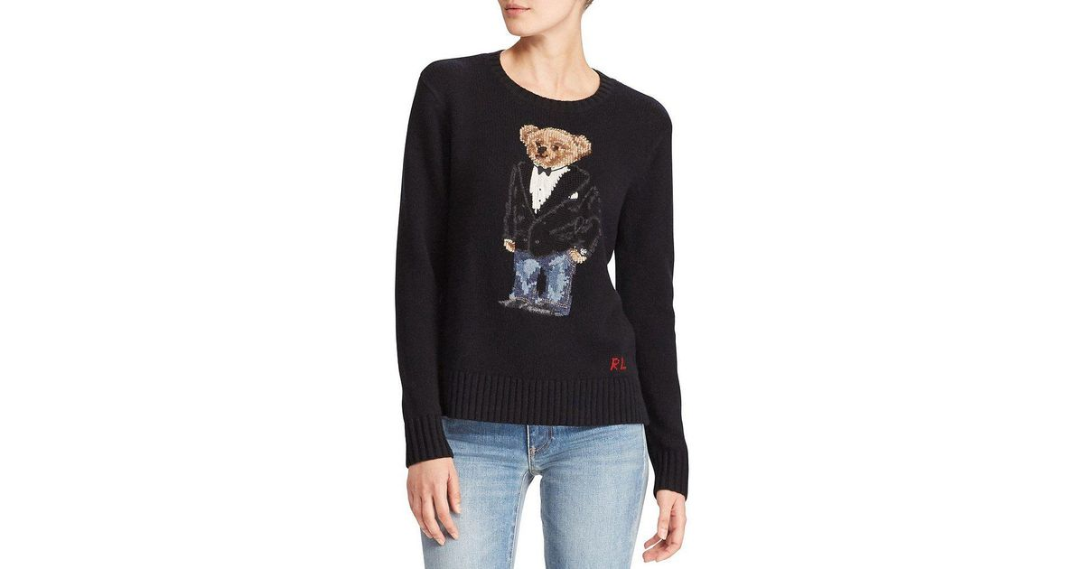 8cd3ce40 Polo Ralph Lauren Tuxedo Bear Crewneck Sweater in Black - Lyst