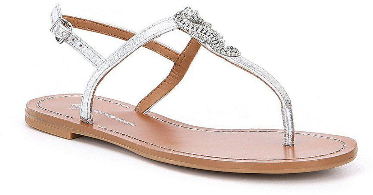 b114b7fd78fb Lyst - Antonio Melani Saija Jewel Seahorse Ornament Metallic Thong Sandals  in Metallic