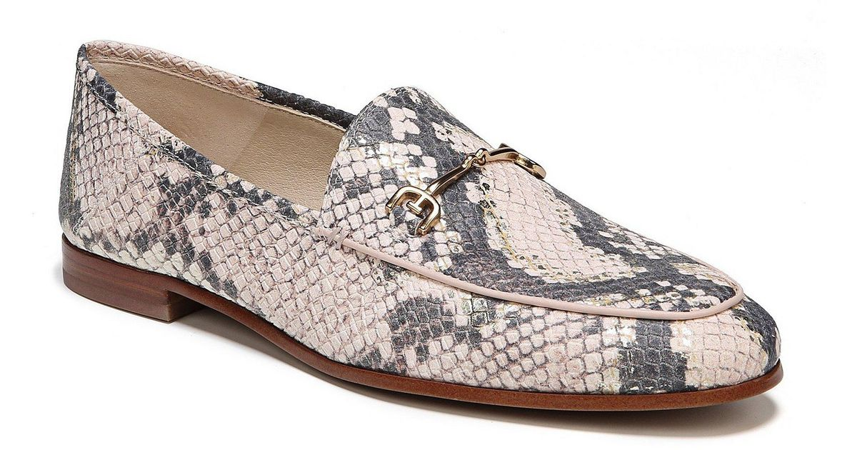 e1c4ae62a Sam Edelman Loraine Snake Print Leather Loafers in Pink - Lyst